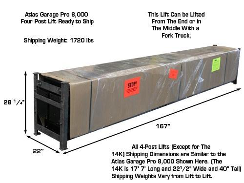 Atlas Garage Pro 8,000 Shipping Dimensions