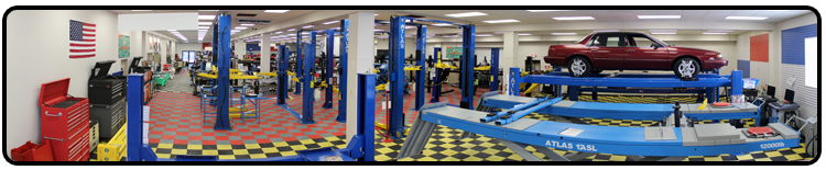This is a picture of our 2 post car lift area of our showroom. Shown in this picture are two post base plate lifts, two post overhead or clear floor lifts, mid rise or scissor lifts, and the lawn mower adapters that make a lawn mower lift.